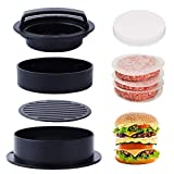 Ulikey Prensa de Hamburguesa, Press Burger Kit 3-EN-1, Molde Hamburguesas Maquina con 100 Papel...