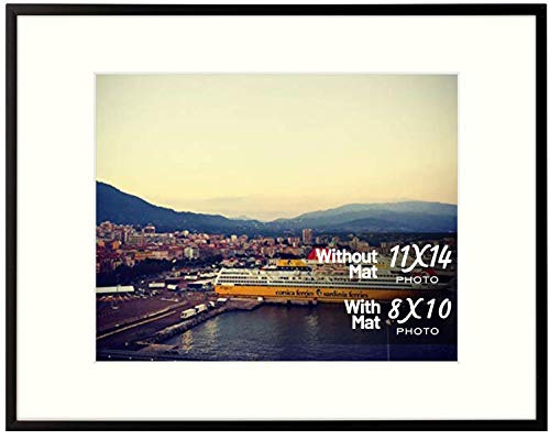 Golden State Art, Aluminum Photo Frame with Ivory Mat for Pictures - Sawtooth Hangers, Spring Clips - Wall Mounting - Real Glass - Metal Frame (Black, 11x14 Frame)