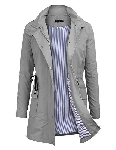 FISOUL Windbreaker Raincoats Waterproof Lightweight Rain Jacket Outdoor Hooded Women's Trench Coats Grey XL