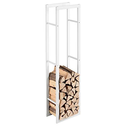 [en.casa] Soporte para leña 40 x 150 x 25 cm Estante de leña Acero Blanco