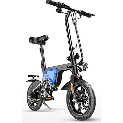 CBA BING Bicicleta eléctrica Plegable para Mujer/Hombre Adulto, Velocidad máxima de 25 km/h, Bicicleta Plegable, Caja Fuerte, portátil Ajustable para Ciclismo con LCD, Tres Modos de Trabajo,Blue