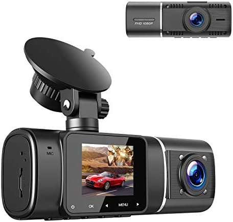 TOGUARD Dual Dash Cam with IR Night Vision FHD 1080P Front and 720P Inside Cabin Dual Lens Car product image