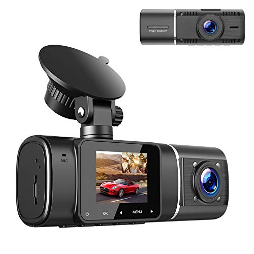 TOGUARD Dual Dash Cam with IR Night Vision, FHD 1080P Front and 720P Inside Cabin Dual Lens Car Dash Camera with 1.5 inch LCD Display Parking Monitor Loop Recording G-Sensor for Car Truck Taxi Driver