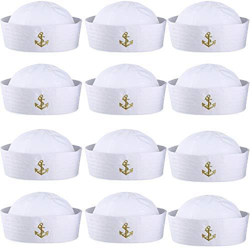 Boao 12 Stück Halloween Weiße Matrosen Mütze Kapitän Kappe Yacht Nautische Hüte für Erwachsene Matrosen Kostüm, Dress Up Party Hüte