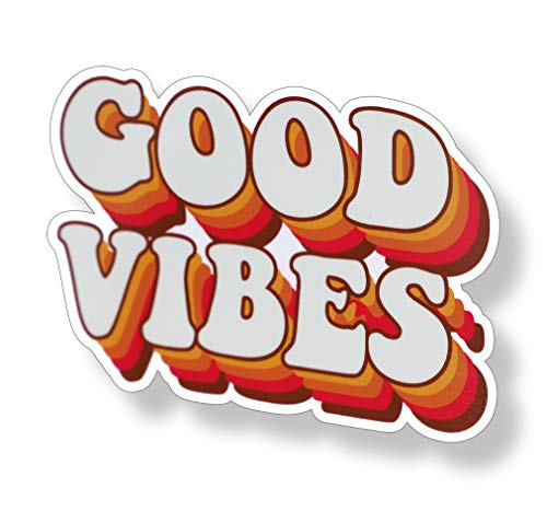 70's Good Vibes Sticker Groovy Retro Vintage Cup Cooler Laptop Car Vehicle Window Bumper Vinyl Decal Graphic