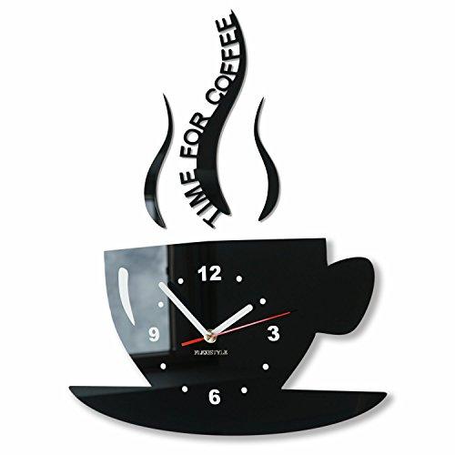 FLEXISTYLE Tasse Zeit für Kaffee Moderne Küche Wanduhr, schwarz, 3D römisch, wanduhr deko