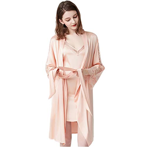 GJF Vrouwen Sexy V-hals pyjama Suspenders Nachtkleding Badjas Zomer Dunne Zijde Satijn Lange Mouw Kant Slaapmode Sets