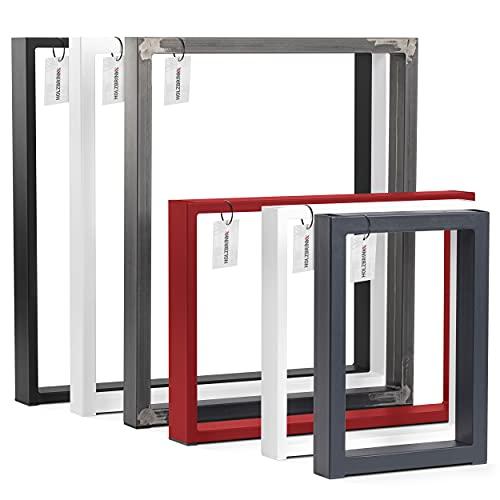 HOLZBRINK Pata para Escritorio, Patas rectangulares de Metal, 80x20 mm, Perfil 50x72 cm, negro, 1 Unidad, HLT-01-C-II-9005