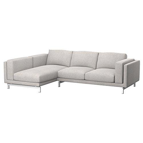 Soferia Bezug fur IKEA NOCKEBY 2er-Sofa mit Recamiere, Links, Stoff Naturel Beige