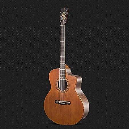 Guitarra Guitarra acústica, Tapa de Spruce sólido, Lateral de Nuez y Espalda, Corte de Guitarra acústica de Esquina Guitarra de Madera AMINÍ (Size : 41 Inches)
