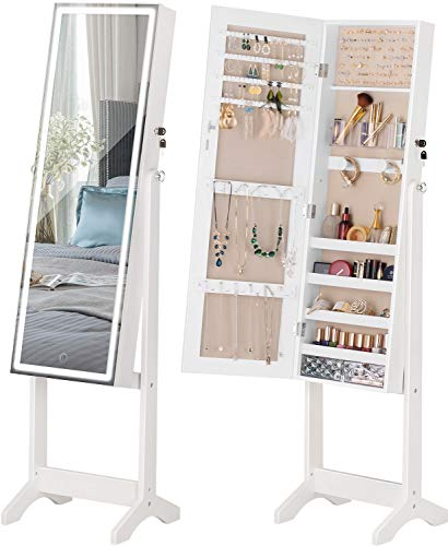 LUXFURNI LED Light Jewelry Cabinet Standing Full Screen Mirror Makeup Lockable Armoire, Large Cosmetic Storage Organizer w/Brush Holder white