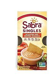 Sabra Singles, Roasted Red Pepper Hummus, Plant-Based, Vegan, Gluten-Free, 2oz Cups, 6ct