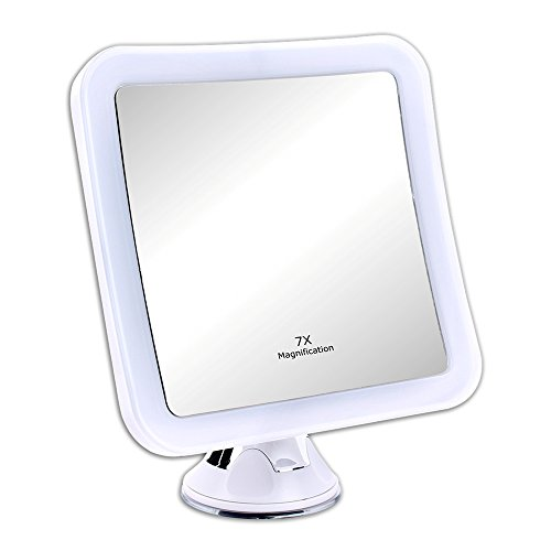 Schramm® Led Spiegel 7-Fach Vergrößerung mit Saugnapf LED Schminkspiegel ca. 16,5 cm Schminkspiegel mit Led Make up Spiegel mit Beleuchtung