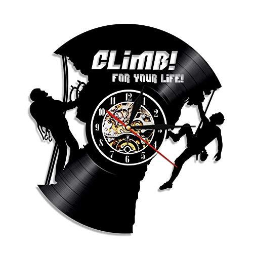 qweqweq Reloj de Pared con Disco de Vinilo diseño Moderno Deportes al Aire Libre Escalada en Roca Reloj de decoración 3D Reloj de Pared Regalo de decoración del hogar