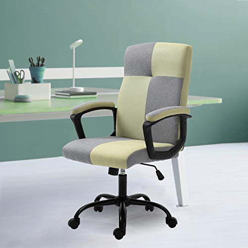 KERMS Mid-Back Ergonomic Office Fabric Chair Executive Computer Desk Chairs Managerial Executive Chairs with Metal Base and Padded Armrests (Green & Gray - Fabric)
