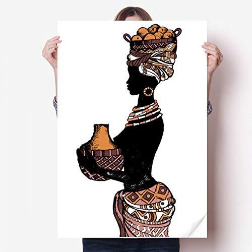 DIYthinker Mur Vinyle primitif d'Afrique Noire autochtone Sticker Mural Poster Wallpaper Chambre Decal 80X55Cm 80cm x 55cm Multicolor