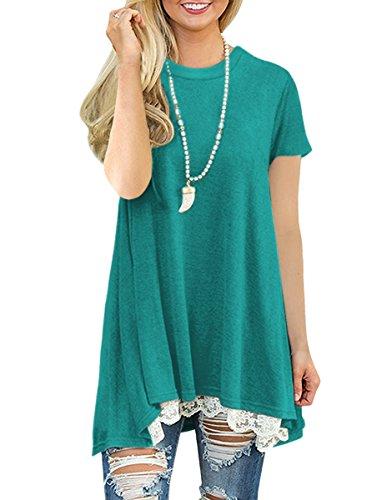 NICIAS Damen Sommer Kurzarm T-Shirt Pullover Rundhals Spitze Tunika Top Lässige Oberteil Bluse Shirt Grün S