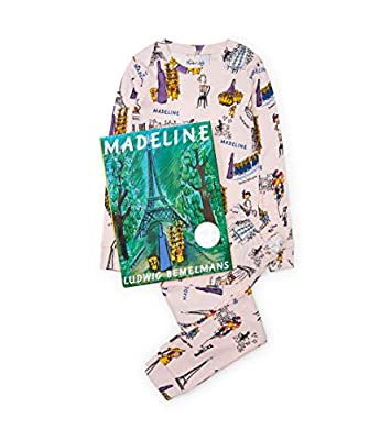 Books to Bed Girls' Book and Long Sleeve Printed Pajama Set, Madeline, 4 Years