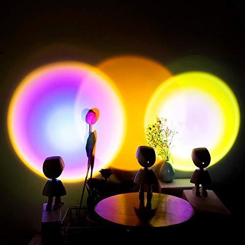 Proyector De Puesta De Sol Robot Atmósfera Luz De Noche Led Arco Iris Luz De Proyección De Puesta De Sol Lámpara De Mesa Con Funcionamiento Usb Lámpara De Pared De Fondo De Tienda De Café En Casa