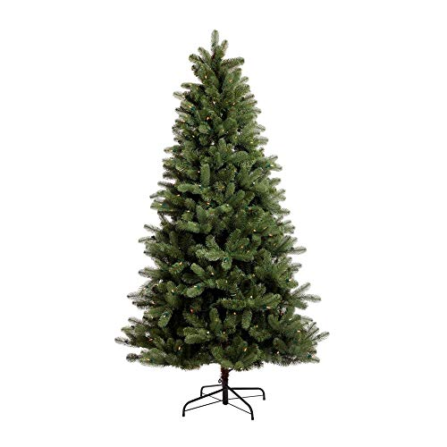 NOMA 6.5-Foot Pre-lit Christmas Tree with Lights | Hudson Spruce | 300 LED Bulbs | Clear Warm White Lights | 1125 Branch Tips