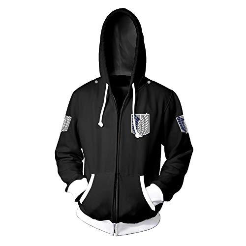 for Mens Womens Boys AOT Attack on Titan Hoodies 2 Jacket Sweatshirts Shirt Cosplay Costume Pullover Apparel Zip up Merch Sweater Clothes Keychain Anime Merch Shingeki no Kyojin Cape Cloak L Black