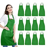 12 Pack Bib Apron - Unisex Green Apron Bulk with 2 Roomy Pockets Machine Washable for Kitchen Crafting BBQ Drawing