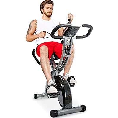 TELESPORT Magnetic Recumbent Bike with Arm Bands, Folding Upright Exercise Bike with LCD Monitor, Indoor Cycling Stationary Bike, 8 Level Resistance, Adjustable Seat & Transport Wheels