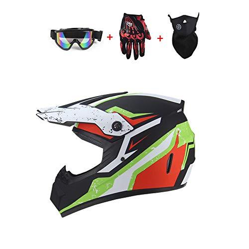 SICOFD Erwachsene Motocross Helm Downhill Cross Fahrradhelm mit Maske Brille Handschuhe Motorradhelm Offroad Helm Integral Schutzhelm ATV Helm für Jugend Junior Kinder Männer Damen,L