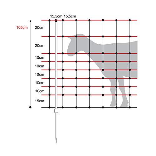 horizont Schafnetz - horinetz - Elektronetz gelb, schwarz, Höhe 105cm, Länge 50m, Einzelspitze, 14 Pfähle, Schafzaun, Weidezaun, Elektrozaun, Ziegenzaun - perfekt für den Schutz Ihrer Schafe