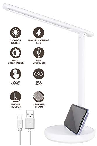 RENOOK LED Desk Lamp, Eye-Caring Table Lamps, Dimmable Office Lamp with USB Charging Port, 3 Lighting Modes with Multi Brightness Levels, Touch Control, Phone Holder