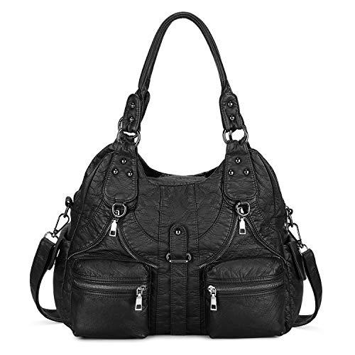 BAIGIO Ladies Handbag Soft Washed Leather Hobo Shoulder Bag Cross Body Top-Handle Purse For Women with Detachable Shoulder Strap (Black)