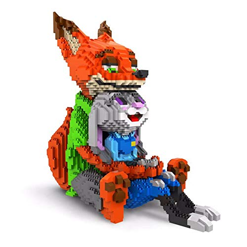 SXPC Cute Dibujos Animados Mini Bloques de construcción de Bloques DIY Fox Building Block Nano ladrillo Rompecabezas ortografía Juguete Regalo de los niños