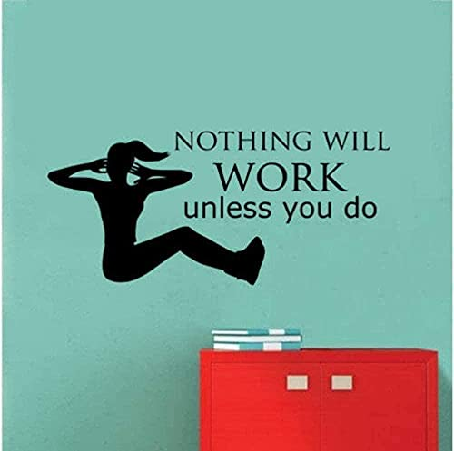 KBIASD Gimnasio Deporte Nada funcionará a menos que cotice Vinilo de pared Oficina en casa Decoración de tienda Papel tapiz