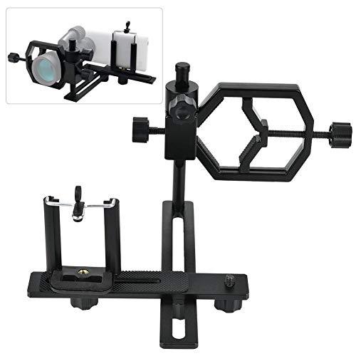 Mugast Soporte para teléfono de Metal, Soporte Ajustable Universal para teléfono cámara Soporte de Clip para telescopios, microscopios, telescopios astronómicos, binoculares y monoculares, etc.