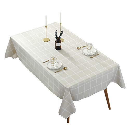 XGzhsa Mantel de PVC, Mantel Rectangular, Mantel Impermeable Resistente a Las Manchas para la Cocina del hogar, Duradero, Ideal para decoración de Mesa (80 x 120 cm, Beige)