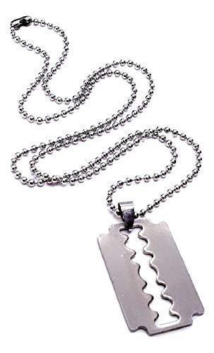 Eclectic Shop Uk Rasierklinge Halskette Silber 22 Inch Edelstahl, Erkennungsmarke Kette Anhänger