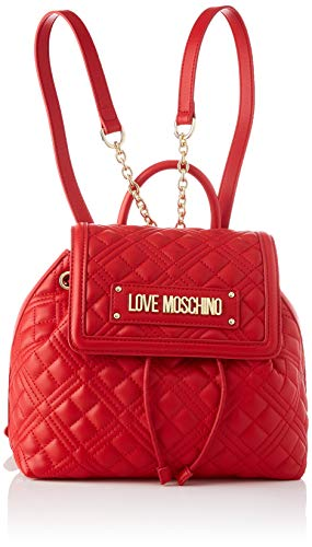 Love Moschino PreCollection SS46 Damen PU Rucksack New Shiny Quilted Rot Medium