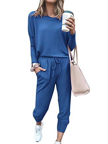 MAHUAOYIXI Chándal de mujer deportivo de 2 piezas, informal, de moda, para gimnasio, sexy, para niña, de manga larga, elegante, de algodón, turquesa, L