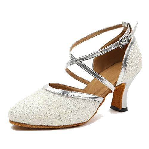 MGM-Joymod ,  Damen Durchgängies Plateau Sandalen mit Keilabsatz, Weiß - White/7cm Heel - Größe: 41
