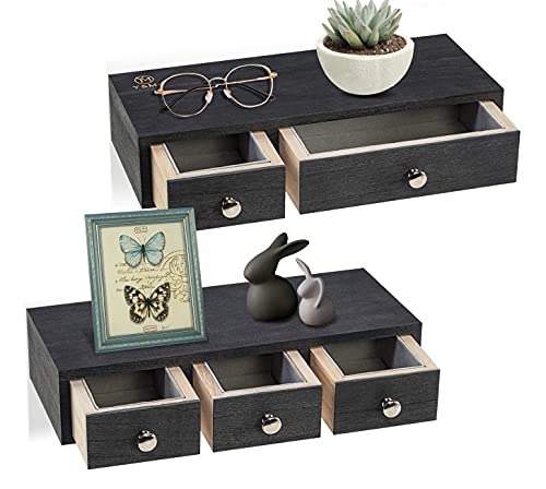 Floating Shelf with Drawer Wall Mounted, Set of 2 Rustic Wood Wall Floating Shelves for Storage and Display 12 x 5 x 2.6 inch (Black)