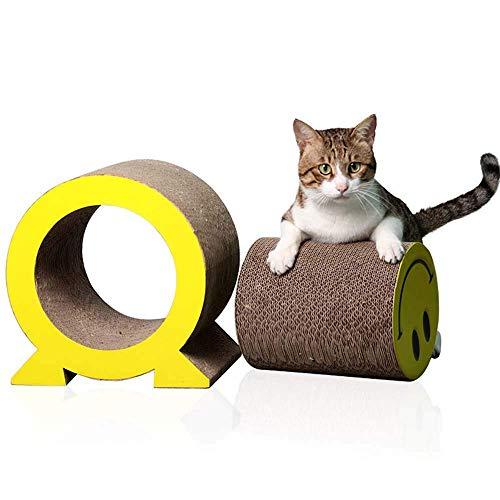 None Branded Großes Kratzbrett Katzensofa Katzenspielzeug drei in einem, Smiley-Form, Wellsofa Lounge mit Katzenminze, gelbes Haustierbett