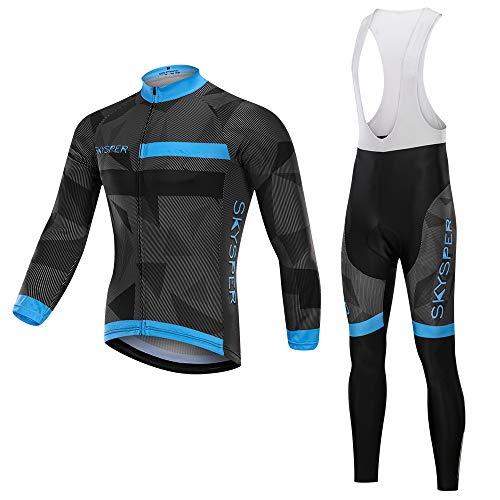 SKYSPER Completo Ciclismo Uomo, Maglia Ciclismo Maniche Lunghe + Pantaloni Ciclismo Lunghi Sapolette Ciclismo Professionale per MTB Ciclista Bici da Corsa Città