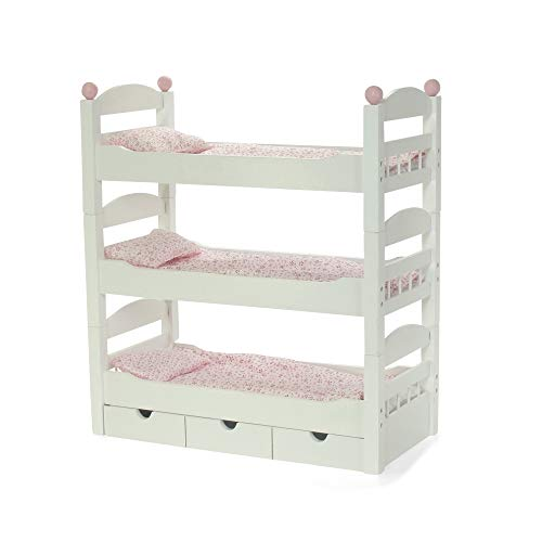 18 Inch Doll Furniture for American Girl Dolls | 3 Single Stackable Doll Beds in One! Triple Doll Bunk Bed and Doll Clothes Storage Drawer | Fits 18' Journey Girls and My Life Dolls