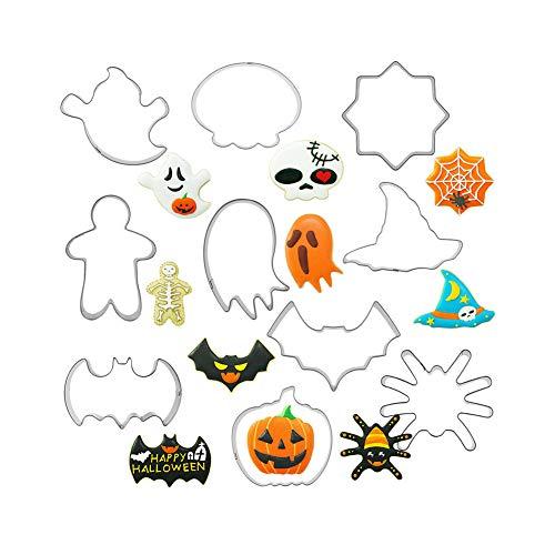 Molde para galletas / Molde para galletas de Halloween /Moldes Galletas Cortador Galletas Acero Inoxidable para Decoración Pastel Cookie Fondant(10 Piezas)