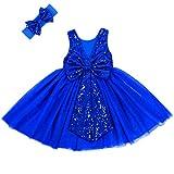 Cilucu Flower Girl Dress Baby Toddlers Sequin Dress Tutu Kids Party Dress Bridesmaid Wedding Gown Birthday Dress Royal Blue 5T-6T