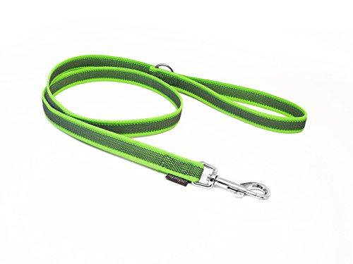 Mystique® Gummierte Leine 20mm mit Handschlaufe Standard Karabiner neon grün 1m