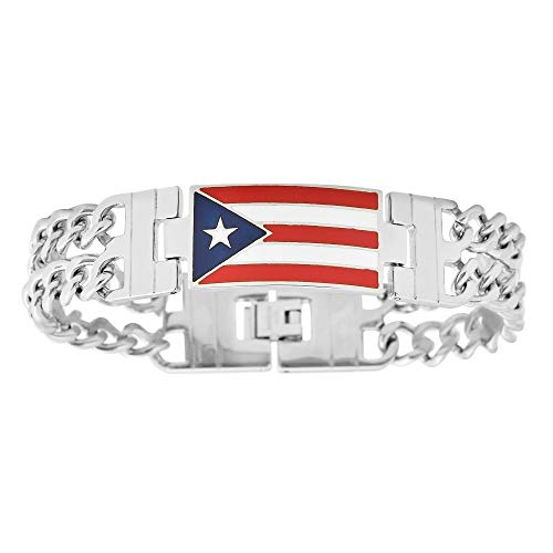 My Daily Styles Men's Stainless Steel Puerto Rico Flag Link Bracelet, 8.5 Inches