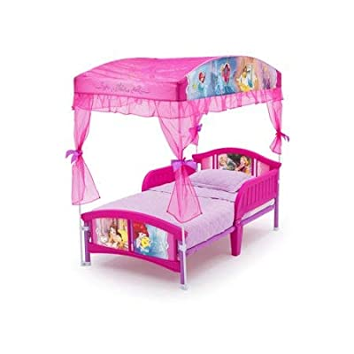 Disney Princess Plastic Toddler Bed with Canopy and Mattress (Does not Ship to California)