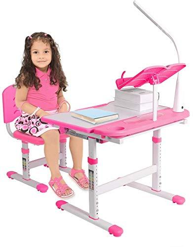 Kinderschreibtisch und Stuhl Set Schülerschreibtisch höhenverstellbar Jugendschreibtisch mit Lampe Schreibtisch Kinder kippbarem mit Bücherregal und Schublade Kindertisch mit Stuhl