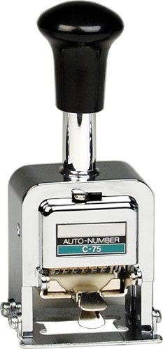 Lion Pro-Line Heavy-Duty Automatic Numbering Machine, 6-Wheel, with Alphabet, 1 Numbering Machine (C-75)
